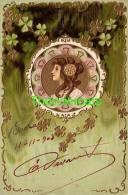 CPA EN RELIEF GAUFREE FEMME ART NOUVEAU ** EMBOSSED CARD ART NOUVEAU LADY ** MUCHA STYLE - Illustrateurs & Photographes