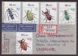 ## Deutschland Luftpost & Registered Einschreiben Labels KÖLN 1993 Cover Brief To Ukraine Käfer Beetle - [7] République Fédérale