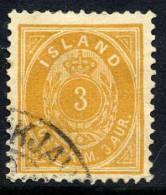 ICELAND 1897 3 Aurar Perforated 12½ Used.  Michel 12B - 1873-1918 Danish Dependence