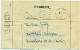 "Allemagne - Lettre ""Feldpost"" De Westfalen Du 11/12/42, See Scan - Cartas"