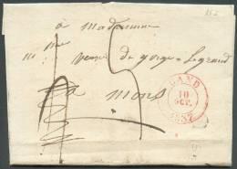 LAC De GAND Le 16 Octobre 1837 + Boîte U De DESTELBERGEN  Vers Mons; Port De 4 Décimes Retaxé à 5 Décimes.   8039 - 1830-1849 (Belgique Indépendante)