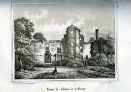Taden Ruines Du Château De La Garraye Par H. Lorette Litographié Par Landais 1843 (22) - Gravure