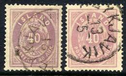 ICELAND 1882-86 40 Aurar Two Shades, Used. Michel 15A - Oblitérés