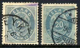 ICELAND 1884-91 20 Aurar Two Shades, Used. Michel 14A - Oblitérés