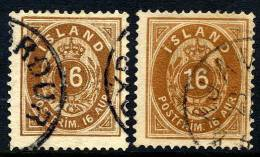 ICELAND 1876 16 Aurar Two Shades, Used.  Michel 9A - 1873-1918 Danish Dependence