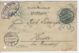 GS Karte  P43  Ace  /  Gestempelt  Hagen - Ronsdorf  30.4.1900 - Covers & Documents