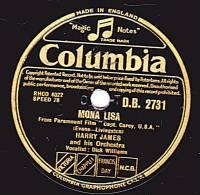 78 Tours - Columbia B.B. 2731 - HARRY JAMES - MONA LISA - STELLA BY STARLIGHT - 78 Rpm - Schellackplatten