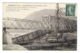 ARDÈCHE / SARRAS / INONDATIONS DU 8 OCTOBRE 1907 / LANCEMENT DU PONT PROVISOIRE EIFFEL , SUR RIVIÈRE AY , LE 23-10-1907 - Francia