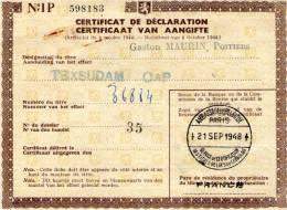 Certificat De Déclaration  D'un Titre TEXSUDAM , 1948 , Ambassade De Belgique - Shareholdings