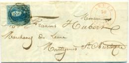 Belgique - No 7 Sur Lettre De Leuze (P72) Vers Montignies St Christophe Du 30/09/1854, 4 Marges, See Scan - 1851-1857 Medaillen (6/8)