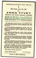 Doodsprentje Anna VYVEY - OUDENBURG 1838 - VLISSEGHEM 1936 - Devotion Images