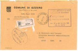 OZZERO  CAP 20080  PROV. MILANO  ANNO 1981  - TACDT R   -TEMATICA COMUNI D´ITALIA - STORIA POSTALE - Affrancature Meccaniche Rosse (EMA)