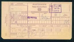 D232 / TICKET - PLATZUARTE TICKET GARDE PLACE - MUNCHEN BELGRADE 1977 Deutschland Germany Allemagne Germania - Chemins De Fer
