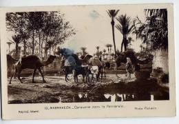 Maroc-MARRAKECH--Caravane Dans La Palmeraie (animée,ane,chameaux) ,cpsm 9 X 14  N° 10 Photo Flandrin - Marrakech