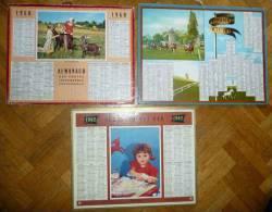 Lots De 3 CALENDRIERS, ALMANACH DES PTT 1960, 1961, 1962 . Longchamp Chevaux, Apprentissage, Jeux Champêtres - Calendriers