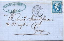 FRANCE GARE D'EPINAL 1866 - Marcophilie (Lettres)