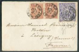 N°57(2)-71  Obl. Sc BRUXELLES 5 S/Env. Carte De Visite  Du 13 Septembre 1897 Vers Lésigny (FR.).  TB  - 8138 - 1894-1896 Expositions