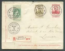 EP Enveloppe Pellens Avec Affranchissement Complémentaire Obl. Sc BRUXELLES 2 En Recommandé Le 6-X-1913 Vers Louvain - 8 - Entiers Postaux