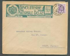 25 Centimes HOUYOUX Obl. Sc LEUVEN 2 LOUVAIN S/L. Ill. (BISCUITERIE NATIONALE BELGE - Verso : PETIT BEURRE De LOUVAIN) D - 1922-1927 Houyoux