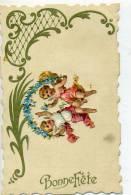 Carte Gaufrée Avec Découpi  D'ange - Bonne Fête - Anges