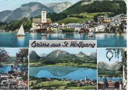 Grüsse Aus ST. WOLFGANG -  Mehrbildkarte, Koloriert - Weisses Rössl, Kirche - St. Wolfgang