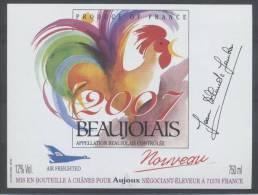 THEME ANIMAUX étiquette De Vin BEAUJOLAIS NOUVEAU 2007 COQ - Galli