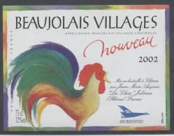 THEME ANIMAUX étiquette De Vin BEAUJOLAIS VILLAGES 2002 COQ - Galli