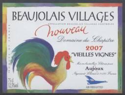 THEME ANIMAUX étiquette De Vin BEAUJOLAIS VILLAGES 2007 COQ - Galli