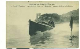 """Meeting De Monaco Avril 1913,Le Canot """"Flambeau"""" Approvisionné D'essence """"Motricine"""" Gagnant Du Prix De La Riviera - Monaco"""