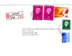 Aangetekende Envelop Met Strookje Nr. 374 ENSCHEDE Weth. Nijhuisstraat  Es WN - Periode 1980-... (Beatrix)