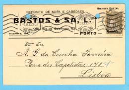 POSTAL COMERCIAL 1910s Publicidade Loja: Solas E Cabedaes RUA BELMONTE - PORTO. Vintage Business Postcard Portugal - Porto