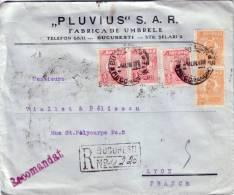 ROUMANIE - BUCAREST - LETTRE RECOMMANDEE AVEC SUPERBE AFFRANCHISSEMENT RECTO VERSO POUR LA FRANCE EN 1926. - Marcofilia