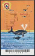 BRAZIL 2002,  Environment Protection, Franc Whale Souvenir Sheet** - Antarctic Wildlife