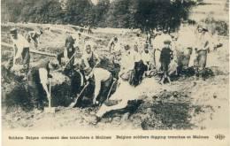 Mechelen / Malines - Belgian Soldiers Digging Trenches / Soldats Belges Creusant Des Tranchées ( Verso Zien ) - Malines