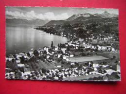 CPSM  PHOTO 74   AMPHION LES BAINS  VUE GENERALE AERIENNE SUR LA BAIE ET LE MASSIF DE LA DENT D'OCHE VOYAGEE 1962 - Autres Communes