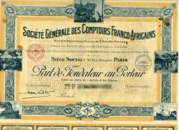 Société Générale Des Comptoirs Franco-Africains. Action Au Porteur 1925. Afrique .Stock Certificate - Afrika