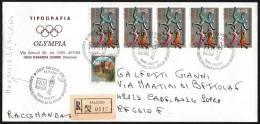 ITALIA SALUZZO (CN) 1997 - CAMPIONATO ITALIANO FILATELICA SPORTIVA - WALK - M. DAMILANO - OLYMPIC RINGS - RACCOMANDATA - Atletica