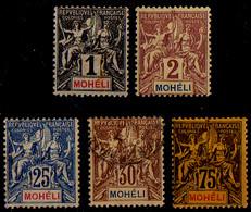 Mohéli - 1906 - Y&T - N°1*, 2*, 7(*), 8°, 13*