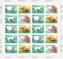 Canada MNH Scott #1532ai HF Sheet Of 20 43c Coryphodon, Megacerops, Arctodus Simus, Mammuthus Primigenius - Prehistoric - Feuilles Complètes Et Multiples