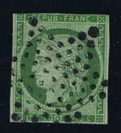 France: Yv/Mi/M Nr 2, 1849, Oblitéré / Cancelled, Etoile, Vert Claire - 1849-1850 Cérès
