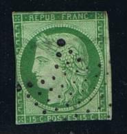 France: Yv/Mi/M Nr 2, 1849, Vert Foncé, Obl
