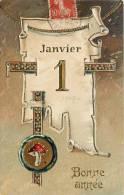 BELLE CPA GAUFREE : BONNE ANNEE 1er JANVIER CHAMPIGNON 1907 NOUVEL AN - Neujahr