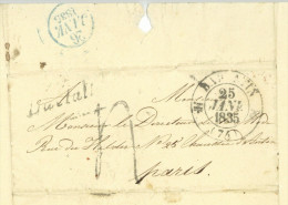 Comtesse De VALORI Montaigu Autographe Barentin 1835 Marques Postales Valory - Documents Historiques