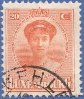 Luxemburg, 20 C. 1921, Sc #139, Used - 1921-27 Charlotte Front Side