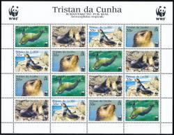 TRISTAN DA CUNHA 2004 Subantarctic Fur Seal WWF Sheetlet Of 4 Sets/16 Stamps** - Antarctic Wildlife