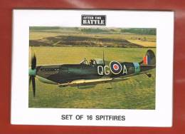 Série De 16 Cartes SPITFIRE Texte En Anglais - Avions