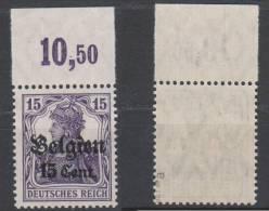 Belgien,16a,OR Platte,postfrisch,gep. - Besetzungen 1914-18