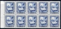 ICELAND 1953 Manuscripts 1k75 Block Of 10  MNH  / **.  Michel 290 Cat. €250 - Nuevos