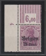 Belgien,21a,OR Walze 3.7.3,postfrisch, - Besetzungen 1914-18