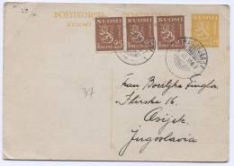 FINLAND, Suomi - Dragsfjard, 1936. Postal Stationery To Yugoslavia - Finland